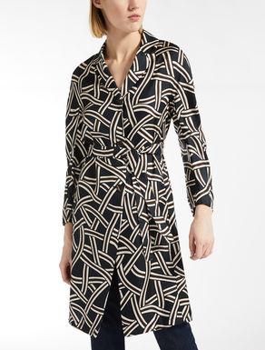 Silk twill duster coat