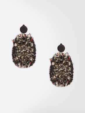 Earrings in embroidered tweed