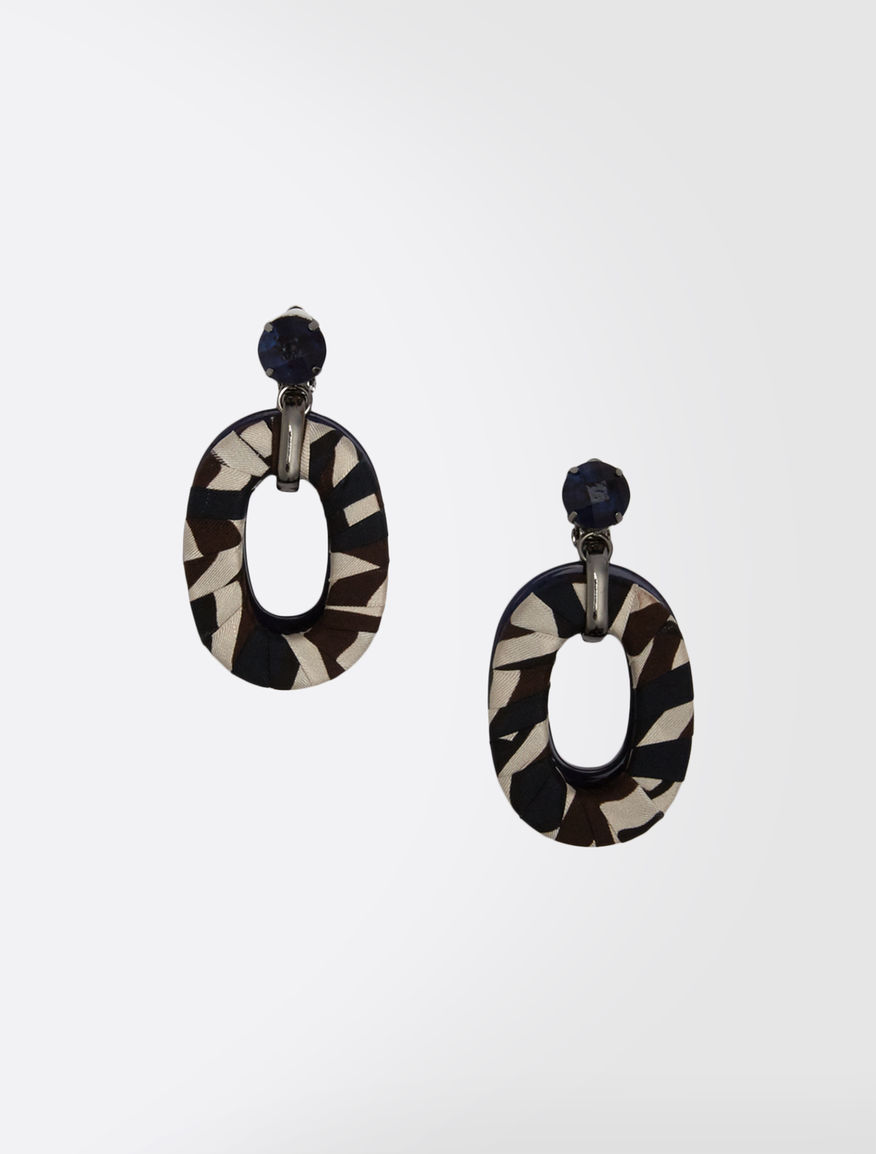 Round resin and silk earrings
