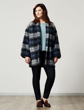 Check-design alpaca jacket