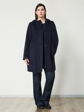 Cocoon-shaped wool and mohair parka