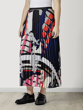 Long pleated crêpe de Chine skirt
