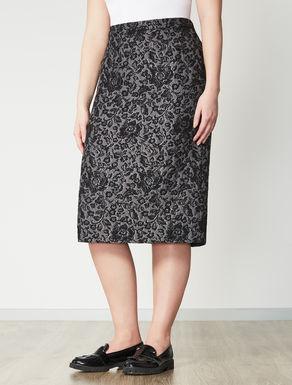 Floral jacquard tube skirt