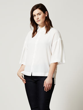 Boxy shirt in silk blend and lace