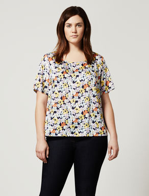 Floral-print twill top