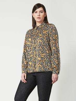 Boxy printed satin shirt