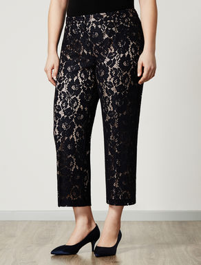 Cropped macramé lace trousers