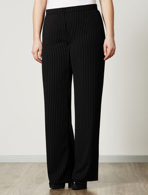 Chalk-stripe palazzo trousers
