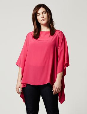 Poncho-style silk blend tunic