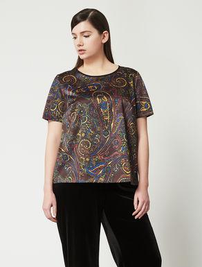 Printed satin T-shirt