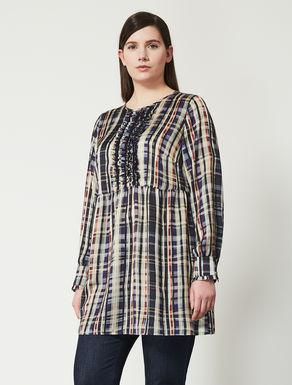 Long printed satin shirt tunic