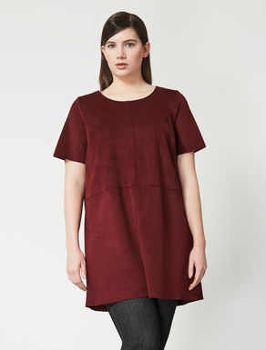 Shirt tunic in double suede fabric