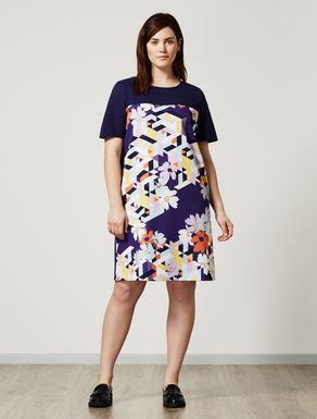 Jacquard and printed Ottoman dress