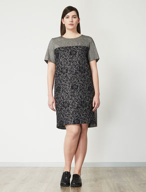 Floral design jacquard dress