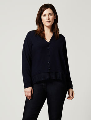 Pleated viscose and wool cardigan