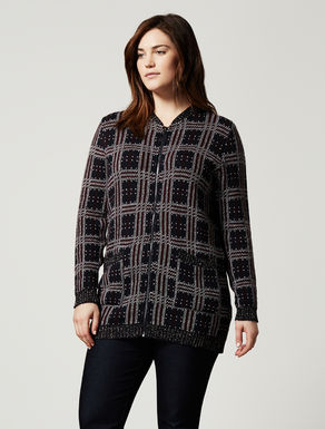 Check-design jacquard cardigan