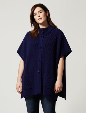 Wool blend cape with pockets