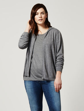 Cashmere blend cardigan with zip