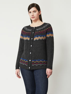 Cardigan in jacquard wool blend