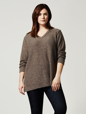 Wool blend jumper with sequins