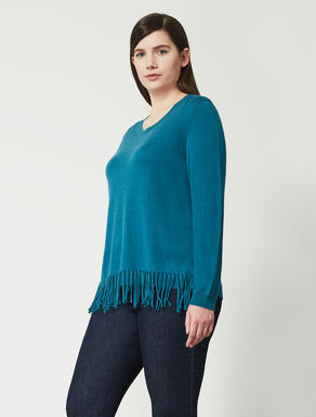 Wool blend boxy jumper with fringes