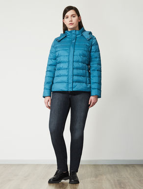 Short iridescent nylon down jacket