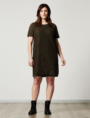 Stretch fleece and lace dress