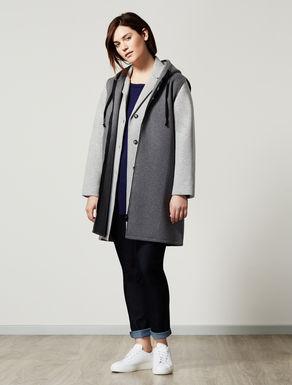 Lange Jacke mit Weste aus Scuba-Gewebe