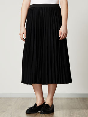 Pleated organza jersey skirt