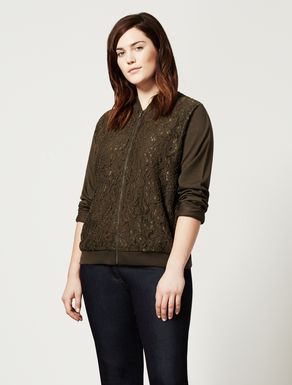 Stretch fleece and lace jacket