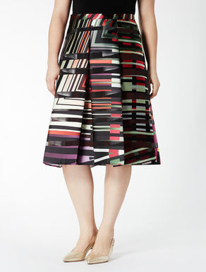 Flared skirt in printed satin