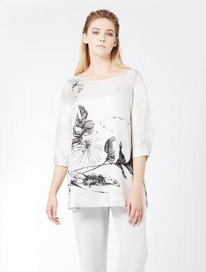 Printed silk twill blouse