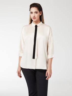 Oversize stretch satin blouse