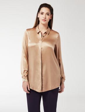 Stretch silk satin shirt