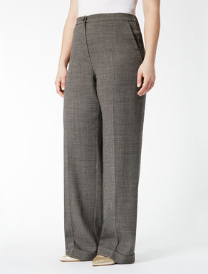 Stretch wool wide-leg trousers