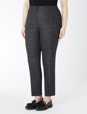 Slim-fit stretch overcheck trousers