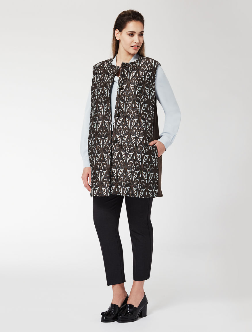 Jacquard and wool jersey gilet