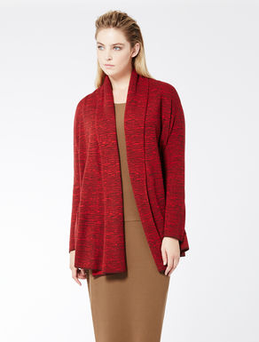 Two-tone jacquard wool cardigan