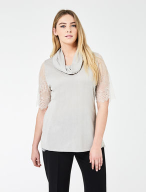 Silk and cashmere sweater with lace