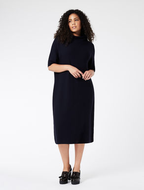 Wool dress with high collar