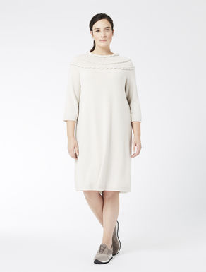 Wool and cashmere dress with plaiting