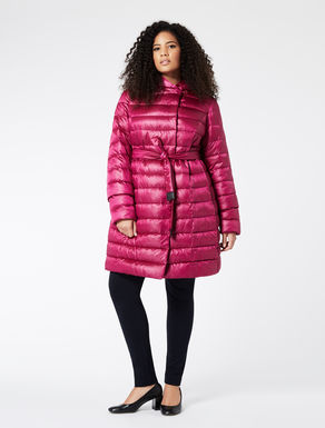 Long padded jacket in nylon satin