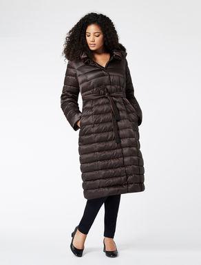 Long padded jacket in nylon satin