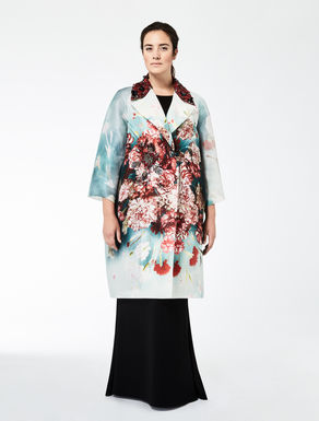 Printed organza coat with embroidery