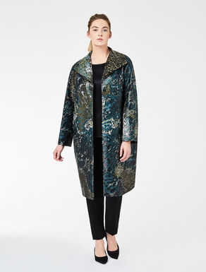Coat in dapple-effect jacquard