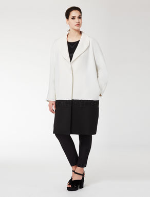 Two-tone embellished wool coat