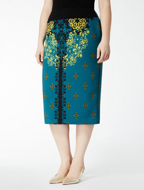 Printed double crêpe skirt