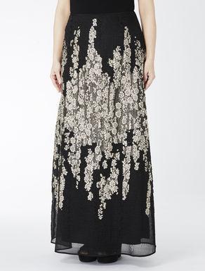 Long lurex jacquard skirt