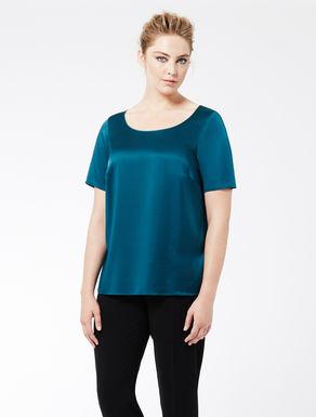 Stretch silk satin T-shirt