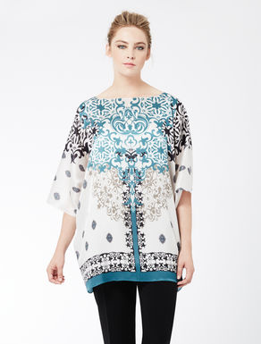 Printed double georgette shirt tunic